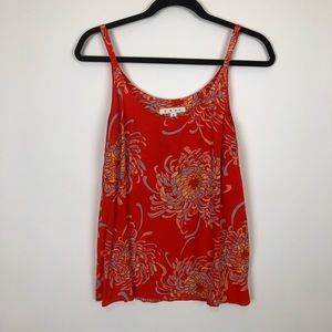 Cabi boho swing tank top red floral size small